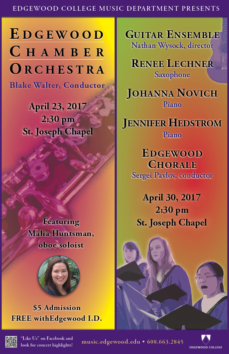 Edgewood Chamber Orchestra Concert and Ensembles and Choir Concert Poster
