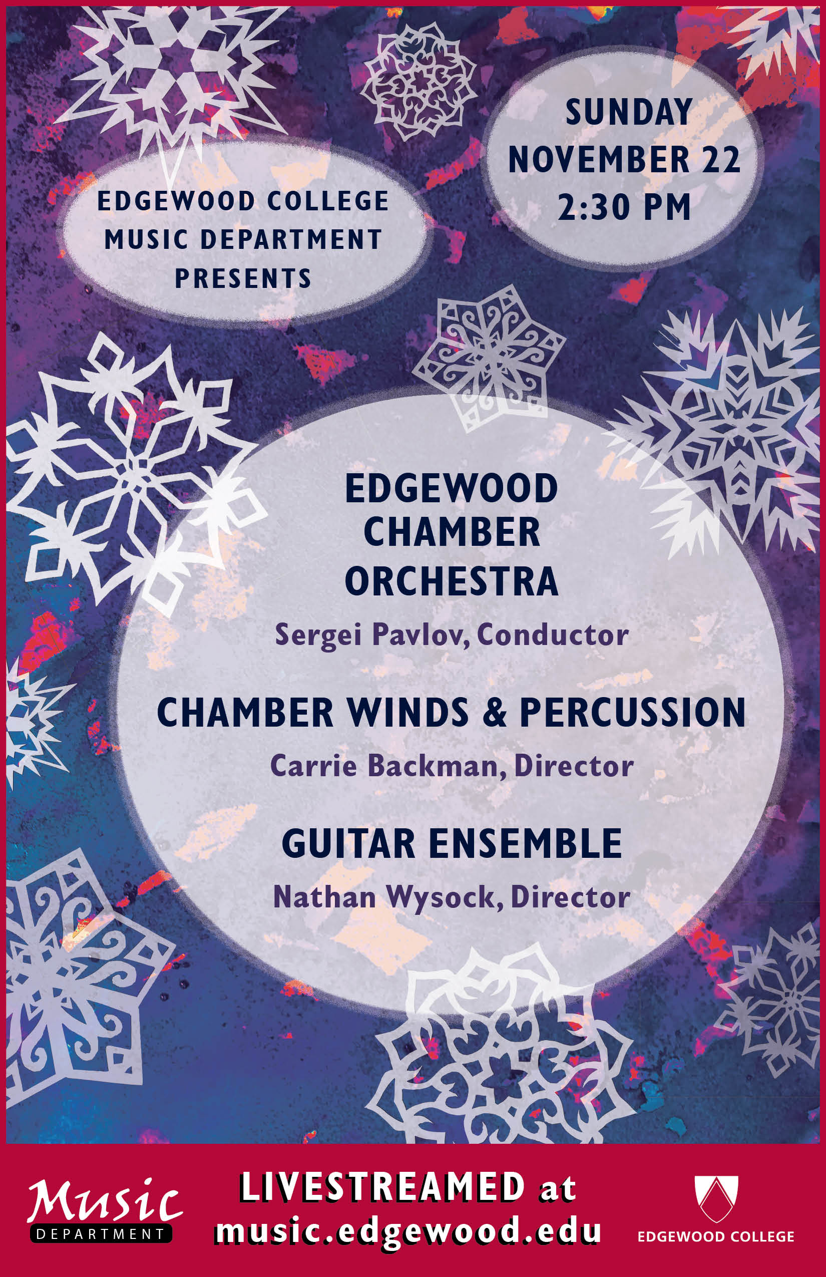 Edgewood College Music Department November 2020 Concert Poster