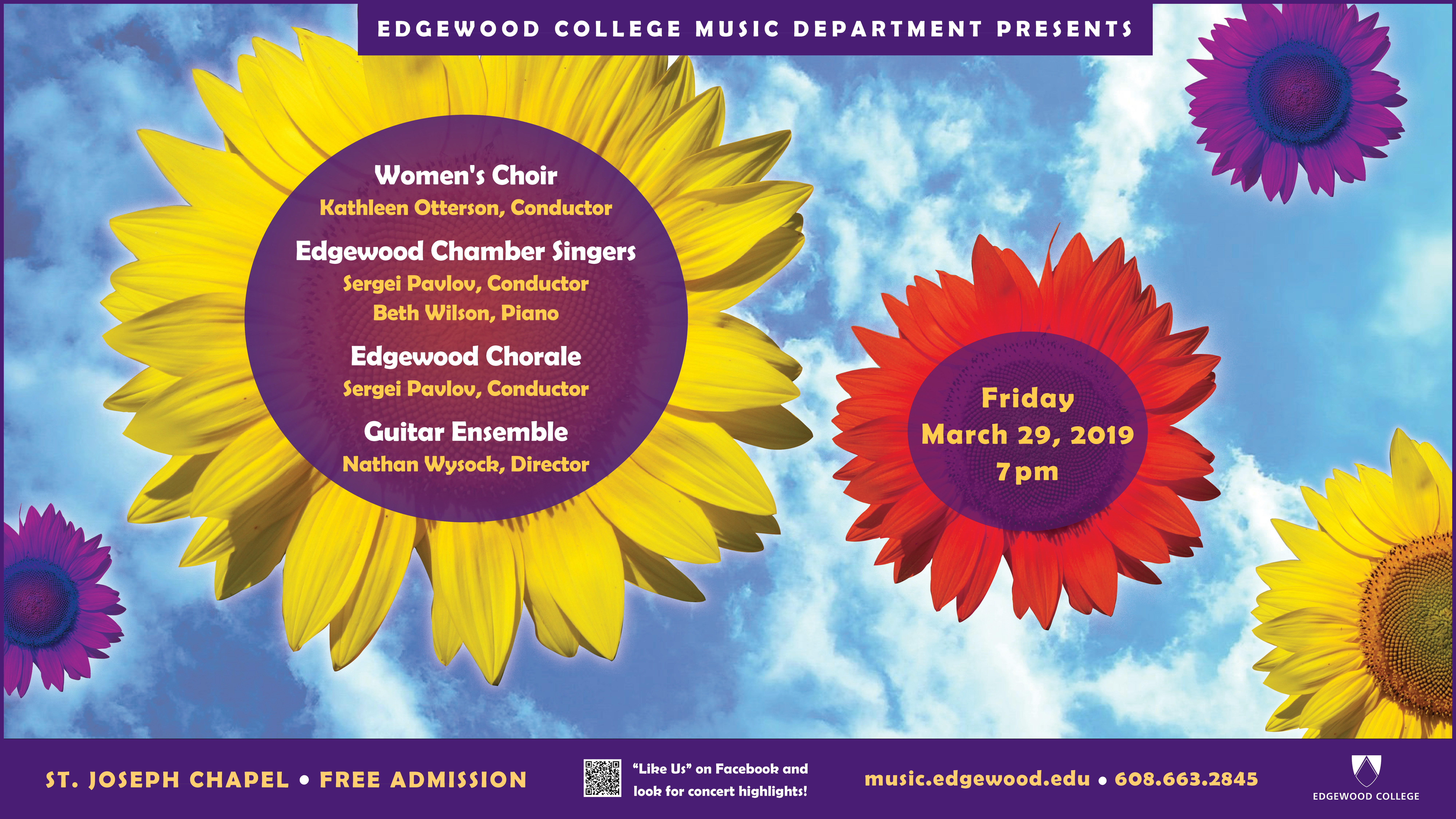 Women's Choir, Chamber Singers, Edgewood Chorale, and Guitar Ensemble Concert Poster