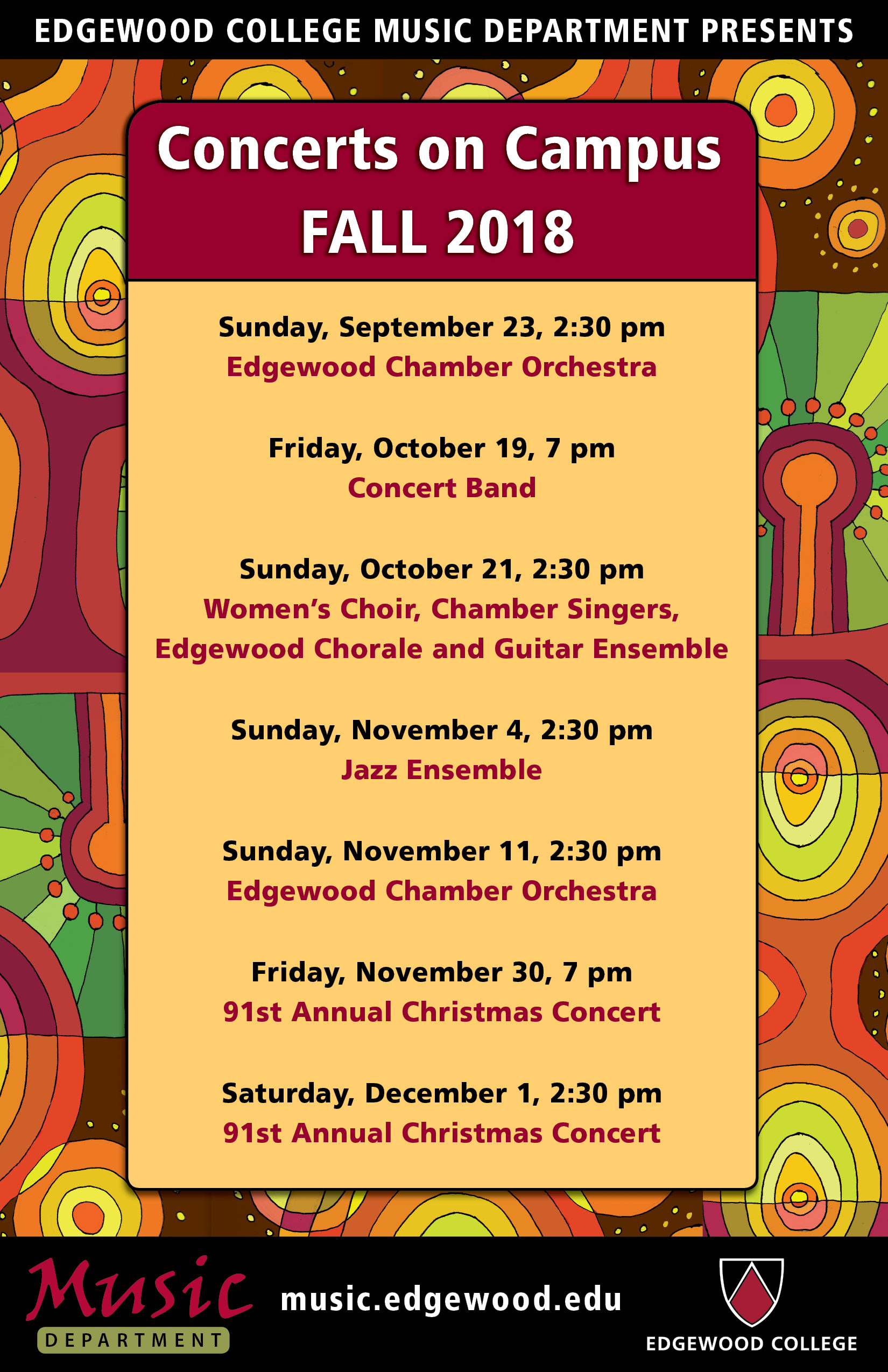 Edgewood College Music Department's Fall Concert Series 2018 Poster
