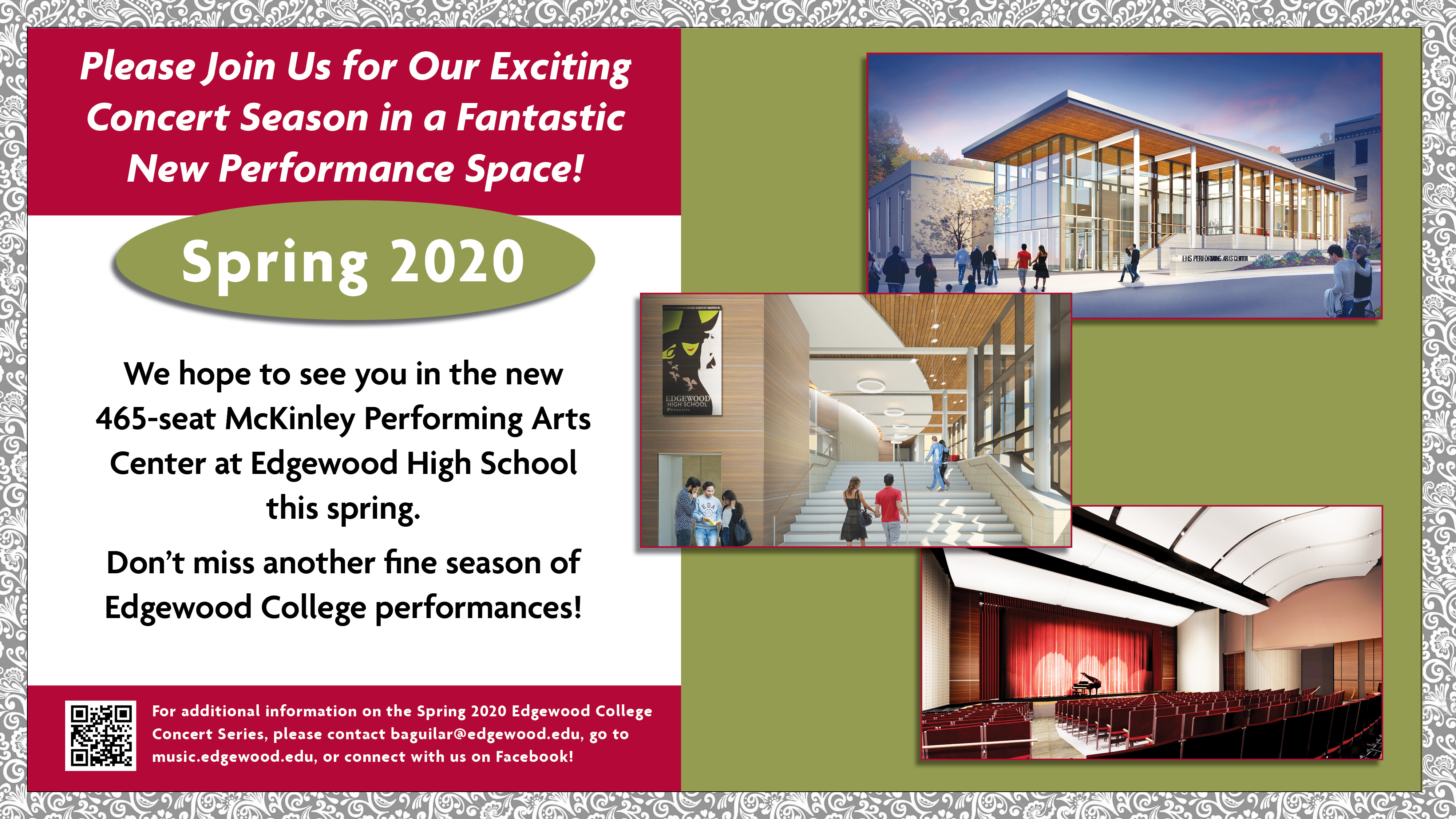 New Performing Arts Center for the Spring 2020 concert season
